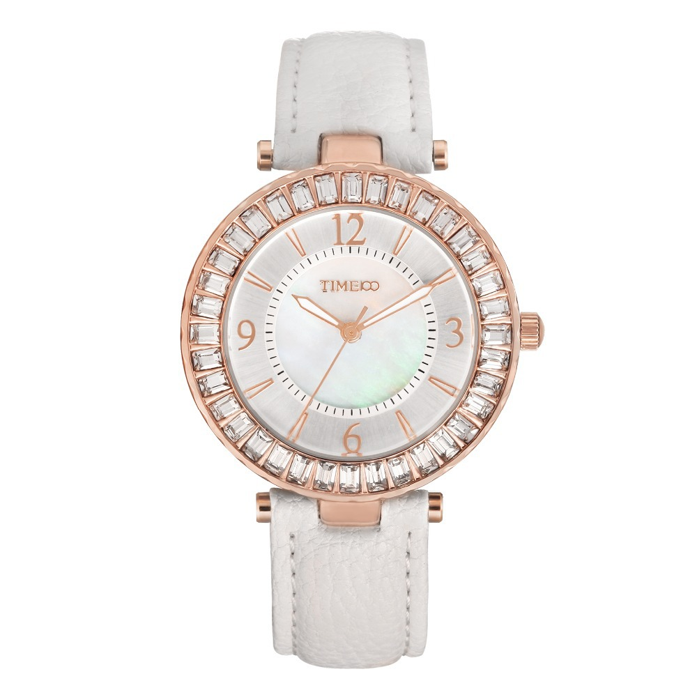 TIME100 Women's Quartz Watches Leather Strap Diamond Shell Big Dial Waterproof Ladies Wrist Watch For Women Relogio Feminino time100 vintage women s bracelet watch diamond shell dial copper plated strap ladies quartz watches for women relogio feminino
