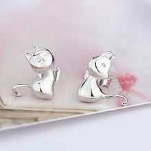 Cute Cartoon 925 Sterling Silver Stud Earrings for Women