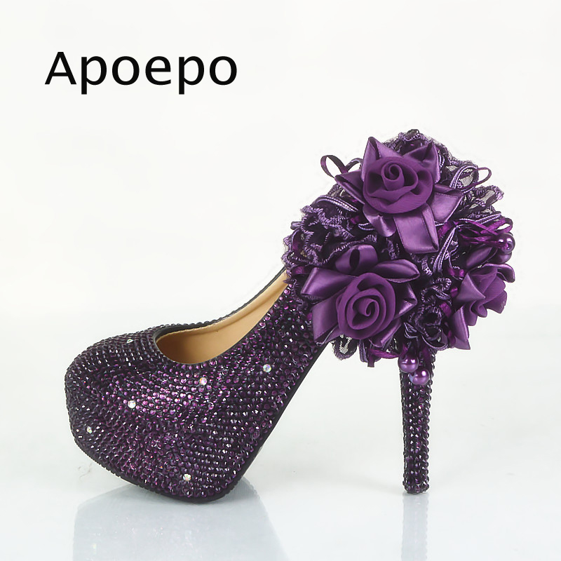 cd01a74a3bf New Purple Lace Flower High Heel Shoe Woman Crystal Wedding Pumps 2018  Newest 14CM heels dress shoes platform sexy heels