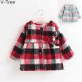Autumn Winter Baby Girls Warm Coat Children Thick Padded Outerwear Baby Kids Plaid Jacket Toddler Fashion Velet Flower Overcoat