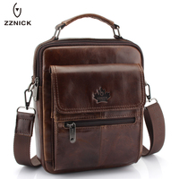 New Fashion Men Genuine Leather Messenger Bag Male Oil Wax Leather Cross Body Shoulder Bag First