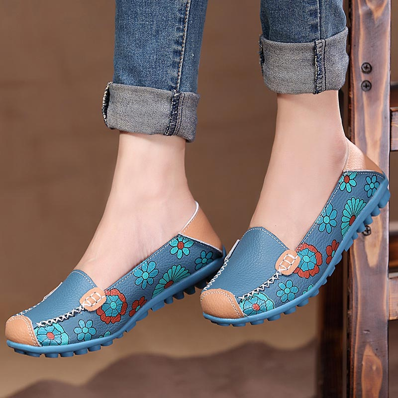 Female Loafers Flats Casual-Shoes Sneakers Women Flower-Printed Slip-On Breathable Genuine-Leather