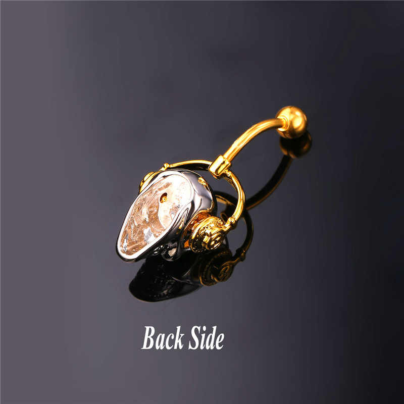 Gothic Đồ Trang Sức Cơ Thể Skeleton Skull Với Nhạc Walkman Nhẫn Belly Button Phụ Nữ Vàng Màu Navel Piercing Nombril DB2162