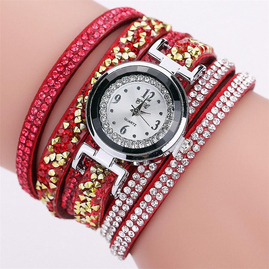 2018 CCQ New Fashion Rhinestone Watches Women Watch Fashion Casual Analog Quartz Women Rhinestone Watch Bracelet Watch