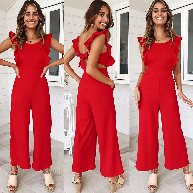 Nadafair red backless sexy jumpsuits women rompers sleeveless bow tie pockets ruffles casual summer jumpsuit overalls playsuit