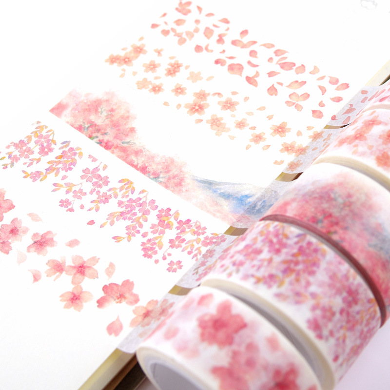 8 Designs Japanese Cherry blossoms Washi Tape Cute Sakura DIY Deco Sticker Scrapbooking Diary Planner Notebook Masking Tapes diy miniature pink cherry blossoms