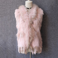 genuine real rabbit fur vest for women natural colors fashion natural fur waistcoat with raccoon fur collar and tassels femme