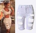 2016 Мода Плюс размер Колен Шорты Женщины Vintage Denim Короткие джинсы Разорвал Высокой Талией Шорты femme 4 Цвет