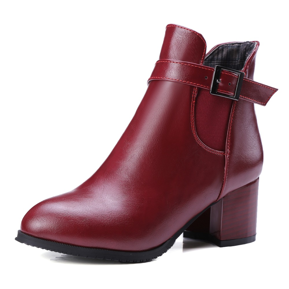 ФОТО Woman Casual Shoes Side Zipper Women Martin Boots ankle boots Thick Heel Boots Buckle Style Women Boots High Top Shoes