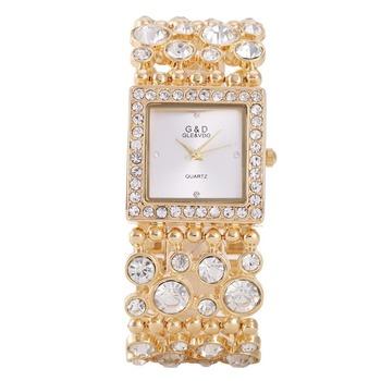 Zegarki damskie moda marka luksusowe kryształ złota bransoletka zegarki damskie zegarki na rękę ze stali nierdzewnej kwarcowy zegarki na rękę kobiety ubierają mujer reloj tanie i dobre opinie Kwarcowe Zegarki Na Rękę 3Bar Luxury ru Rattrapante Stop 20mm Nie pakiet G D GLE VDO QUARTZ Hook buckle 38mm Hardlex 22cm