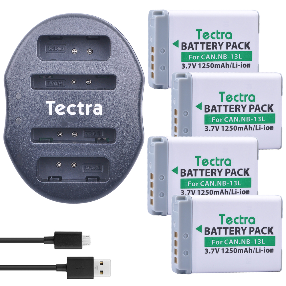 Tectra 4Pcs NB-13L NB13L Li-ion Battery+ USB Dual Charger for Canon PowerShot G5 X G5X G7 X Mark II G7X G9 X G9X SX720 HS Camera аккумулятор unbranded generic nb 11l canon powerselph 110 hs elph 320 hs a2400is a3400is a3500is a4000is nb 11l