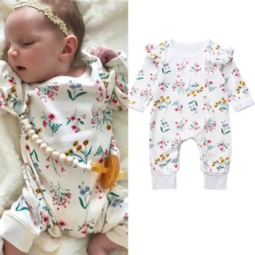 c66304c9f2 2018 Newest Newborn Baby Girls clothing Floral cotton Long Sleeve Romper  Playsuit Clothes Outfit