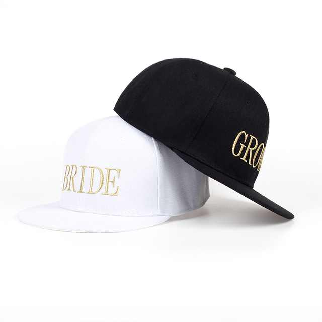 6d92234c22786 VORON BRIDE GROOM Gold letters Embroidery Snapback Hats Flat Bill Trucker  Hats Acrylic Men Women Gifts for Him Her cotton cap