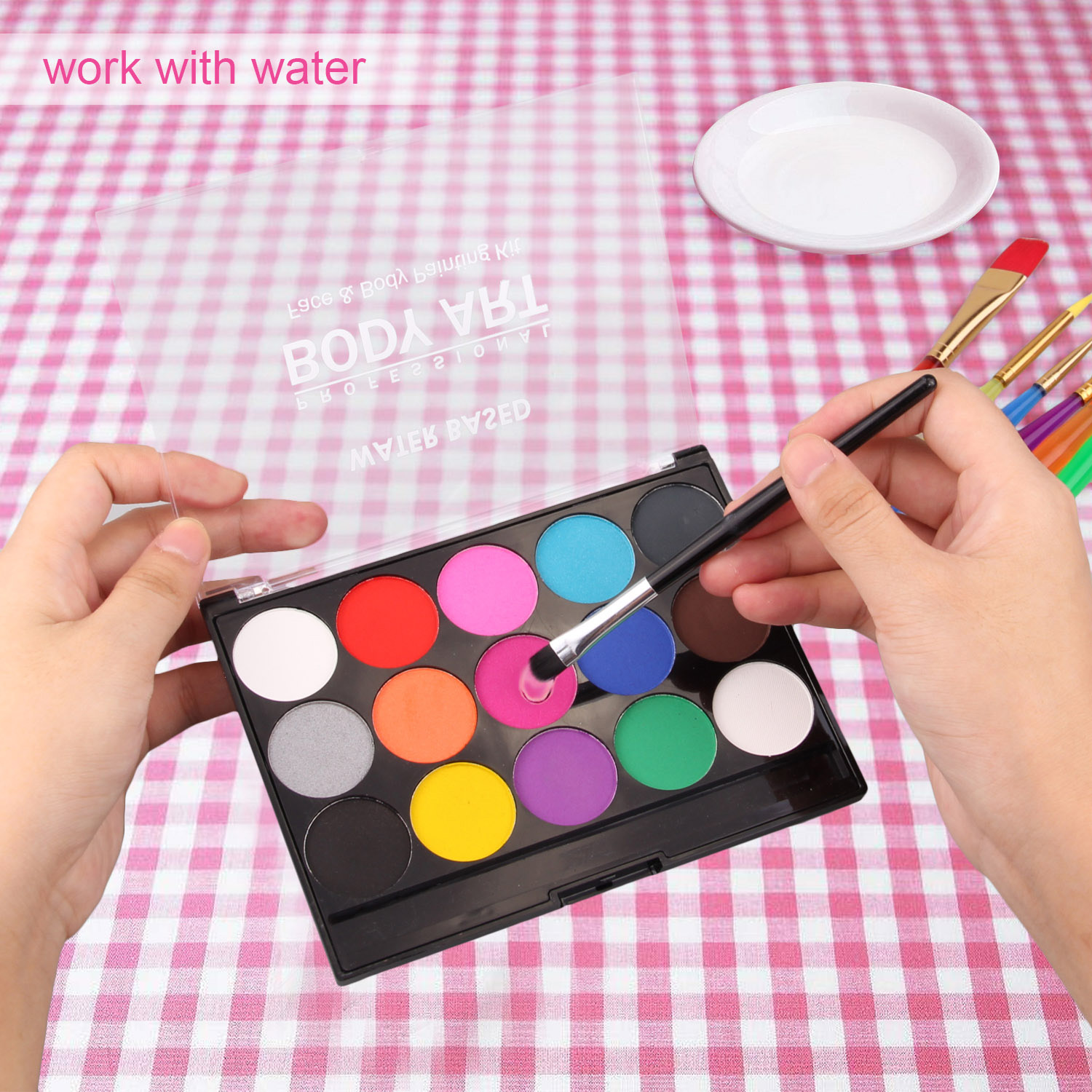 15PCS Kids Adults Safety Colorful Solid Pigments 6PCS Painting Brushes Set Drawing Toy For Festive Face Body Paint Graffiti Kit