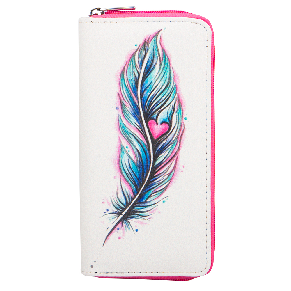 Sansarya Fashion 2018 Colorful Heart Feather Printing Long Women Girls Wallet PU Leather Wallet Modern Female Purse Money Bag