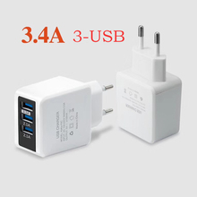 3 Ports USB Charger For The Phone Micro USB Charger Fast Charging Wall Universal Charger For iPhone For Samsung power bank EU