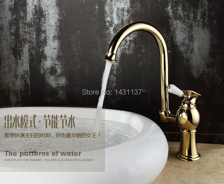 ФОТО 2016 new arrival Europe fashion high quality brass material gold finish cold and hot kitchen faucet sink mixer