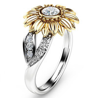 2018 Exquisite Silver Crystal Sunflower Wedding Rings For Women Bijoux Anel Femme Engagement Ring Statement Jewelry Lover Gifts 1