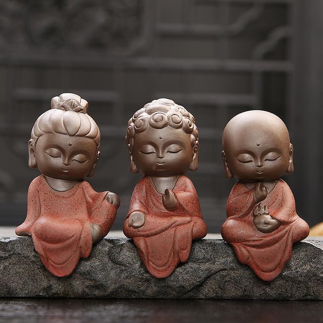 Accesorios para mascotas de arcilla púrpura Linda hecha a mano té pequeño monje adornos Boutique té famoso té Shramanera para mascotas 1 piezas S