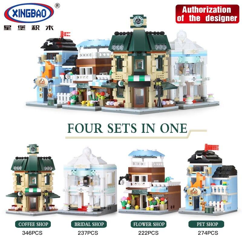 все цены на XingBao 01105 1079 Pcs The Coffee Shop Wedding Store Flower Shop Pet Shop Set 4 in 1 Building Blocks Bricks LegoINGlys City