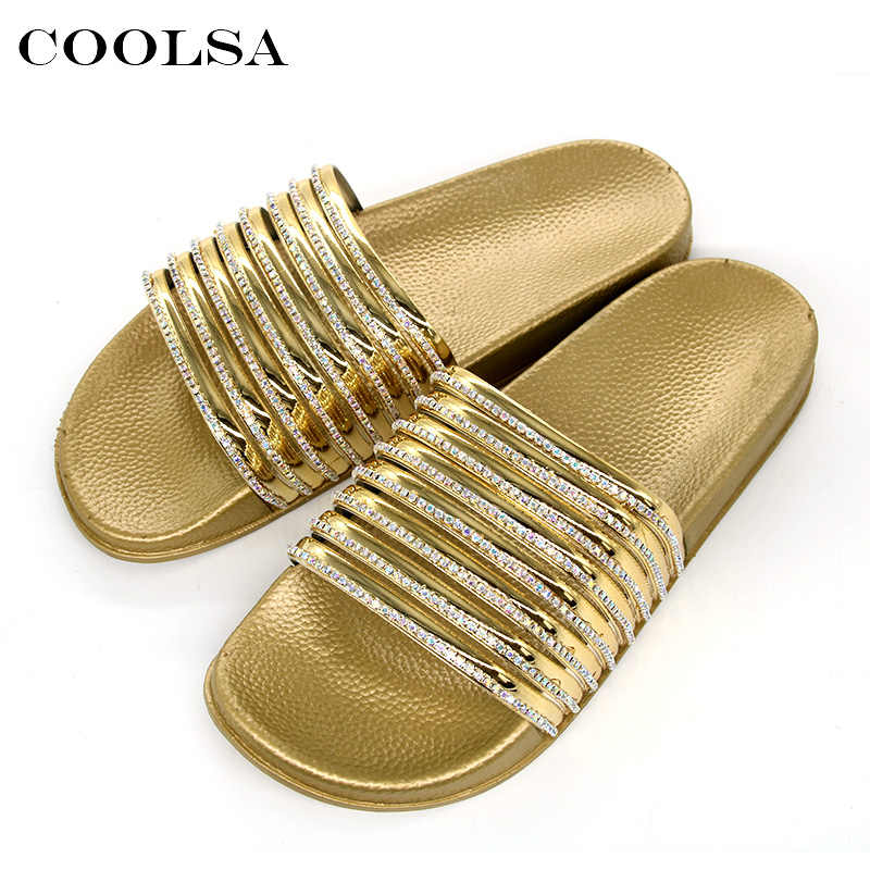 62b1982a2 ... Coolsa Summer Women Slippers Rhinestone Flip Flop Bling Diamond Sanals  Flat Rubber House Slipper Lady Casual ...