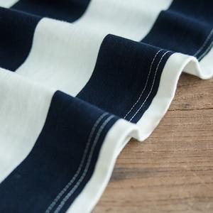 Image 4 - 魔伝メンズカジュアルプルオーバークルーネックロングスリーブストライプコットン Tシャツ青と白