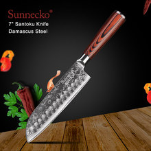 SUNNECKO 7 inch Santoku Kitchen chef Knives Japanese Damascus VG10 Steel Strong 60HRC Blade Pakka Wood Handle Cutting Tools sunnecko 8 damascus bread knife japanese vg10 core steel sharp blade 59 60hrc strong hardness kitchen knives pakka wood handle