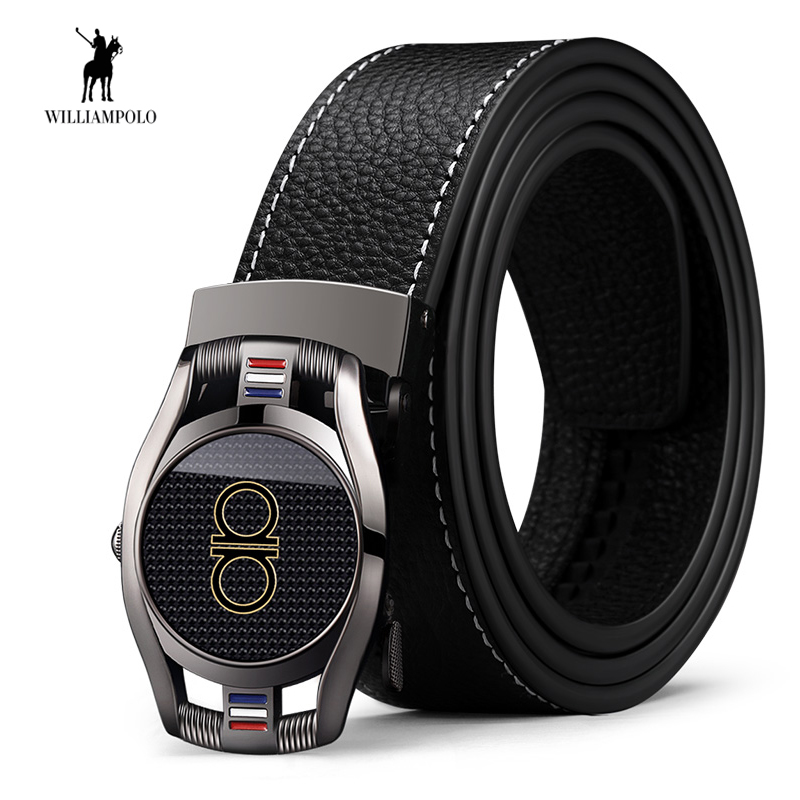 WilliamPOLO Leather Men   Belt   Automatic Genuine Leather   Belts   Buckle   Belt   Strap Male Jeans Fashion Casual High Quality Design