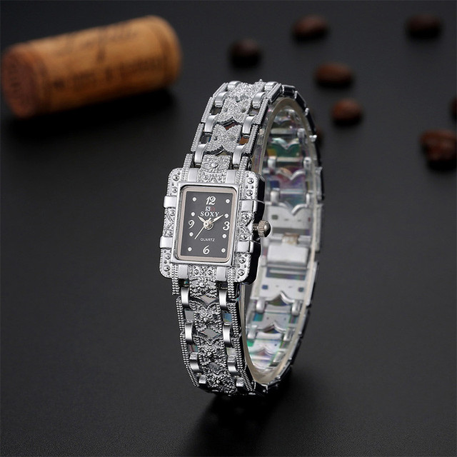 Fashion Ladies Watch Gold Stainless Steel Square Watches For Women Quartz Wrist