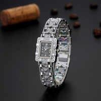 Mode dames montre or en acier inoxydable carré montres pour femmes Quartz montre-bracelet horloge femmes montre femme 2018 acier & Ff