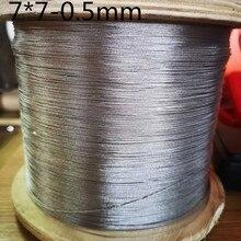 100 м(0,5 мм диаметр) 304 нержавеющая сталь провода веревки alambre кабель мягче Рыбалка Веревка подъемный кабель 7X7 структура