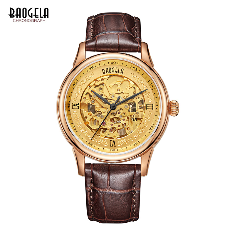BAOGELA Hollow Skeleton Automatic Mechanical Watches Mens Top Brand Luxury Leather Band Gold Business Wristwatch retro bronze bezel skeleton steampunk automatic watches mens sports clock luxury top brand vintage leather mechanical wristwatch