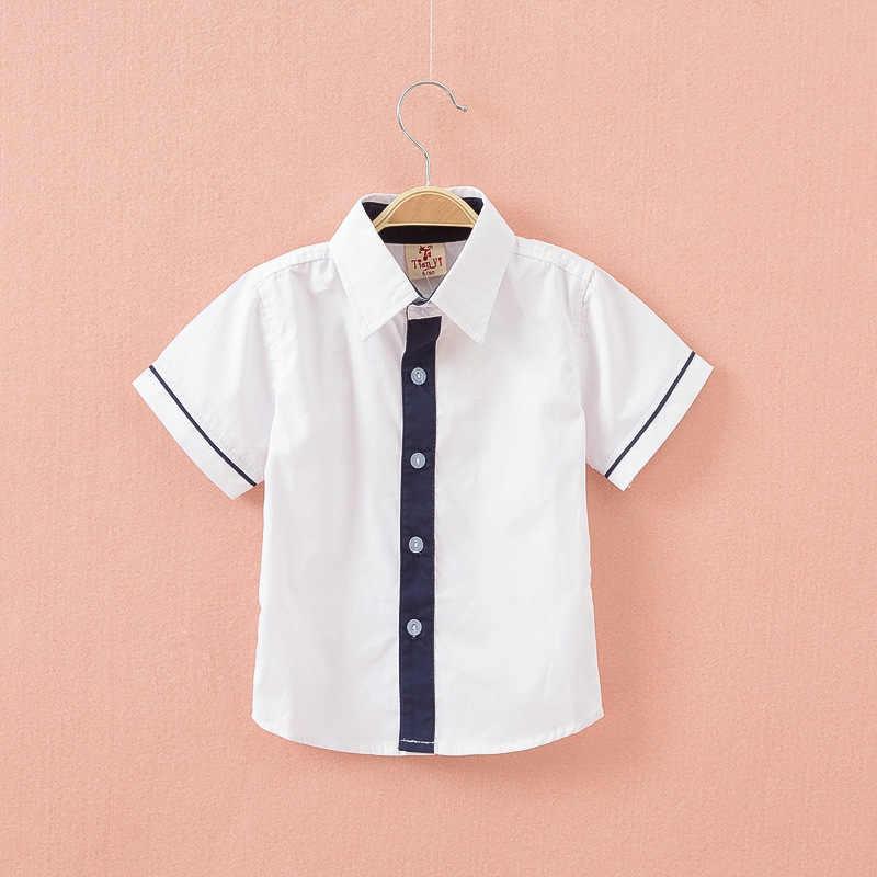 2-7yrs Baby Boys New 2019 여름 의류 아동 의류 키즈 코튼 셔츠 고품질 스트라이프 보이즈 셔츠