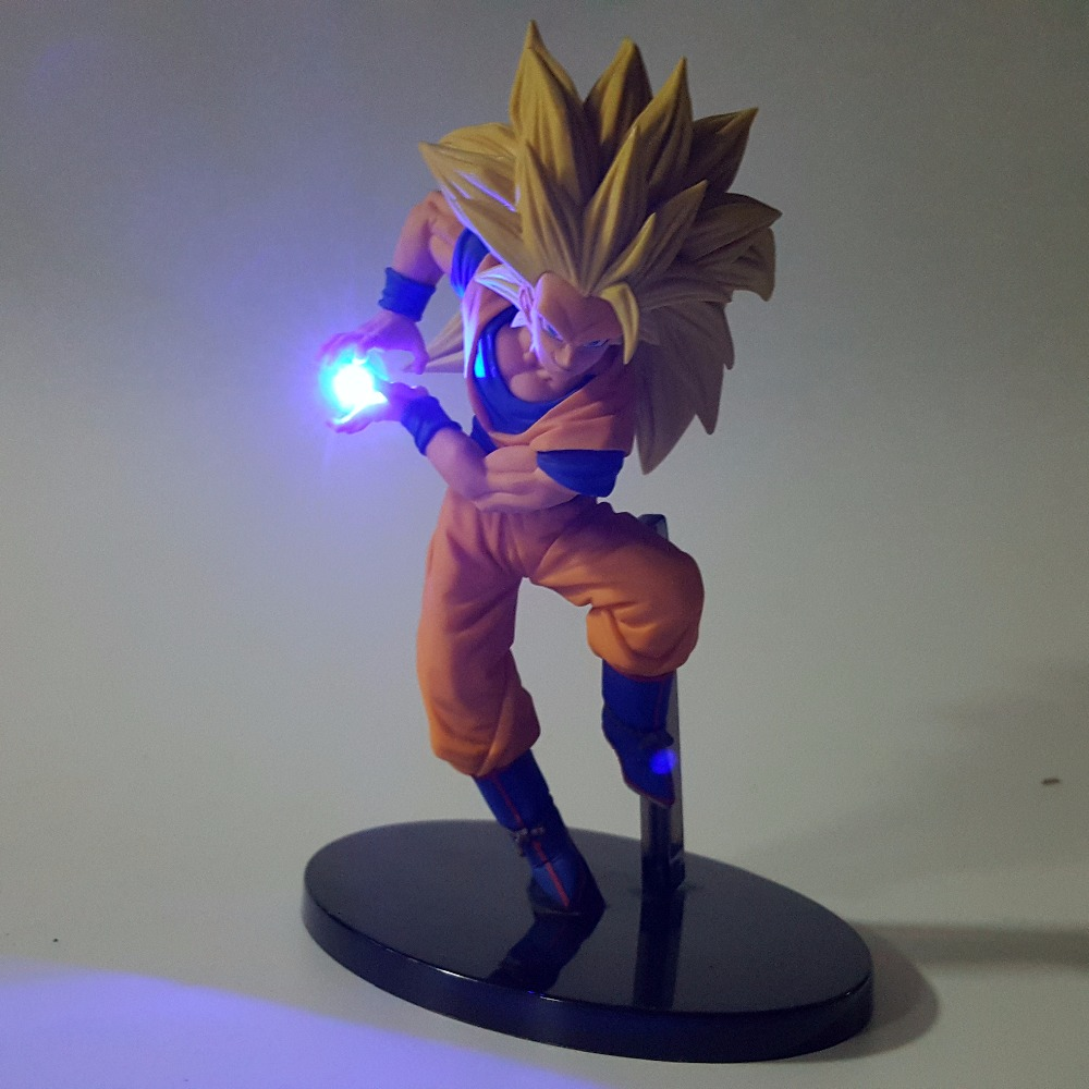 Dragon Ball Z <font><b>Action</b></font> Figures Son Goku Kamehameha Led Light 150mm Anime Dragon Ball Super Saiyan