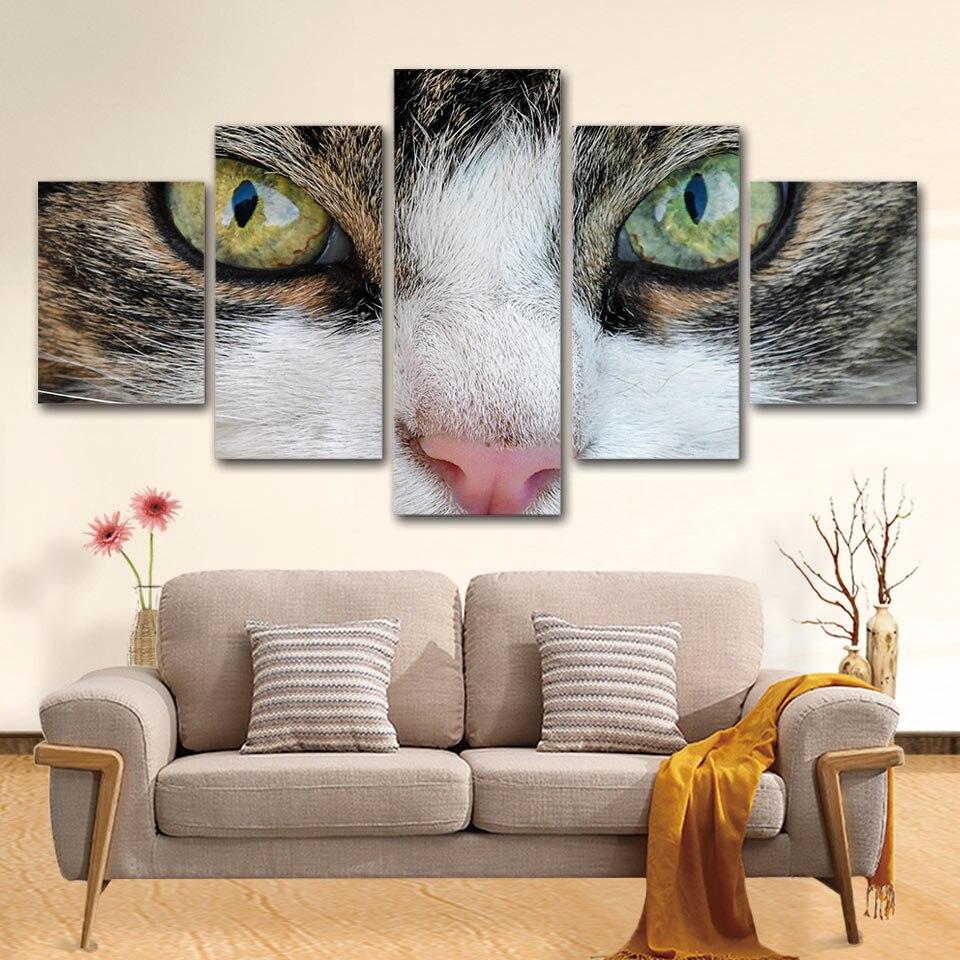 Tuval Boyama Duvar Sanatı Çerçeve 5 Adet Sevimli Hayvan Kitty Göz Resimleri Modüler Baskılar Soyut Kedi Posteri Ev Dekor Oturma