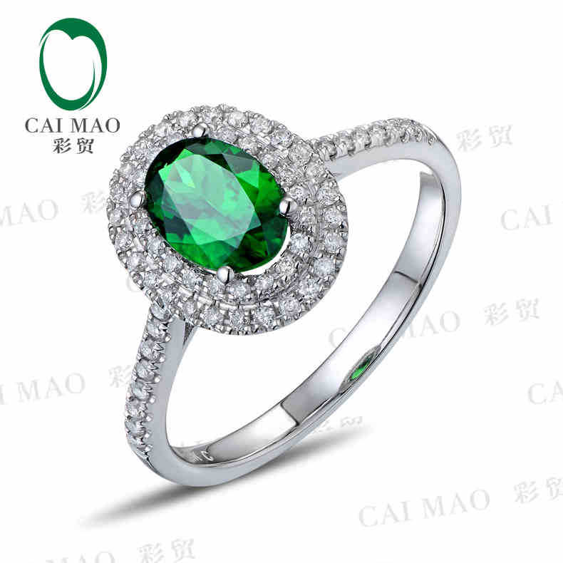 CaiMao 18KT/750 White Gold 0.8 ct Natural Tsavorite  & 0.28ct Round Cut Diamond Engagement Gemstone Ring JewelryCaiMao 18KT/750 White Gold 0.8 ct Natural Tsavorite  & 0.28ct Round Cut Diamond Engagement Gemstone Ring Jewelry