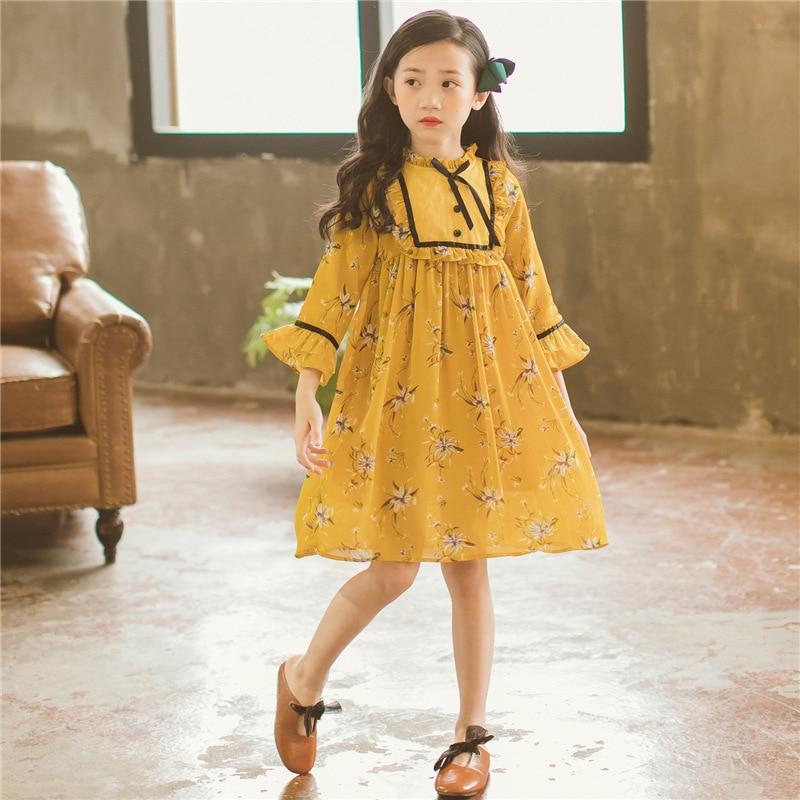 Dresses Girl Long Sleeve Chiffon Dress Yellow Floral Print Fall Winter Kids Girls Dress Little Girls School Clothing floral print flare sleeve shift dress