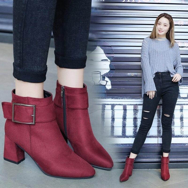 Black Bottines De gray Femmes Talons Dames Boot Hauts Designer Bottes Chaussures Cuir Mujer Femme Jsd Hiver Cheville À Botas En red 2018 Luxe Shuangxi nOf1wCqcO