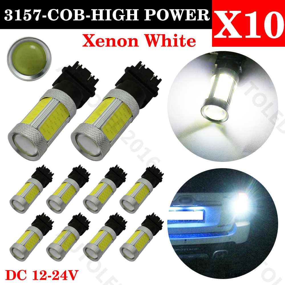 10Pcs 3157 COB led High Power Super Bright Brake Tail Stop Xenon White Light LED Car Auto Tail Brake Light Bulb Signal Lamp Bulb 1pc 1156 ba15s 1206 22smd white led brake turn light auto mobile wedge lamp tail bulb super bright dc 12v csl2017