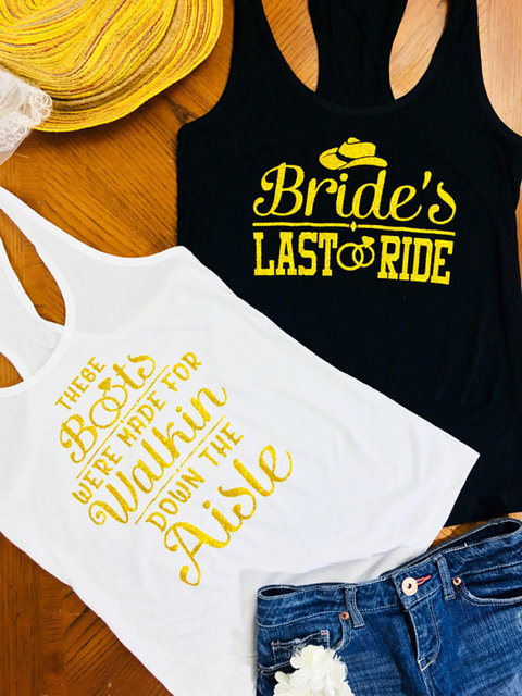 custom glitter gold Brides Last Ride country wedding Bridesmaids ...