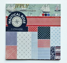 Ocean Series Patterned Paper  Scrapbooking Pack Craft Art Card Making 6x 6 24 Sheets /pack