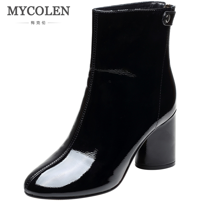 MYCOLEN Genuine Leather Chelsea Boots Luxury Fashion Autunm Mid Heel Women Ankle Boots Winter Warm Short Ladies Slip-on BootiesMYCOLEN Genuine Leather Chelsea Boots Luxury Fashion Autunm Mid Heel Women Ankle Boots Winter Warm Short Ladies Slip-on Booties