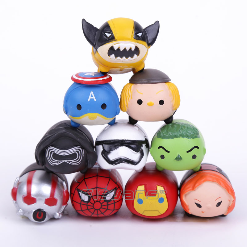 10pcs/set Tsum Tsum Mini lot The Avengers Captain America Star Wars Q version PVC Figures Collectible Model Toys captain america civil war iron man 618 q version 10cm nendoroid pvc action figures model collectible toys