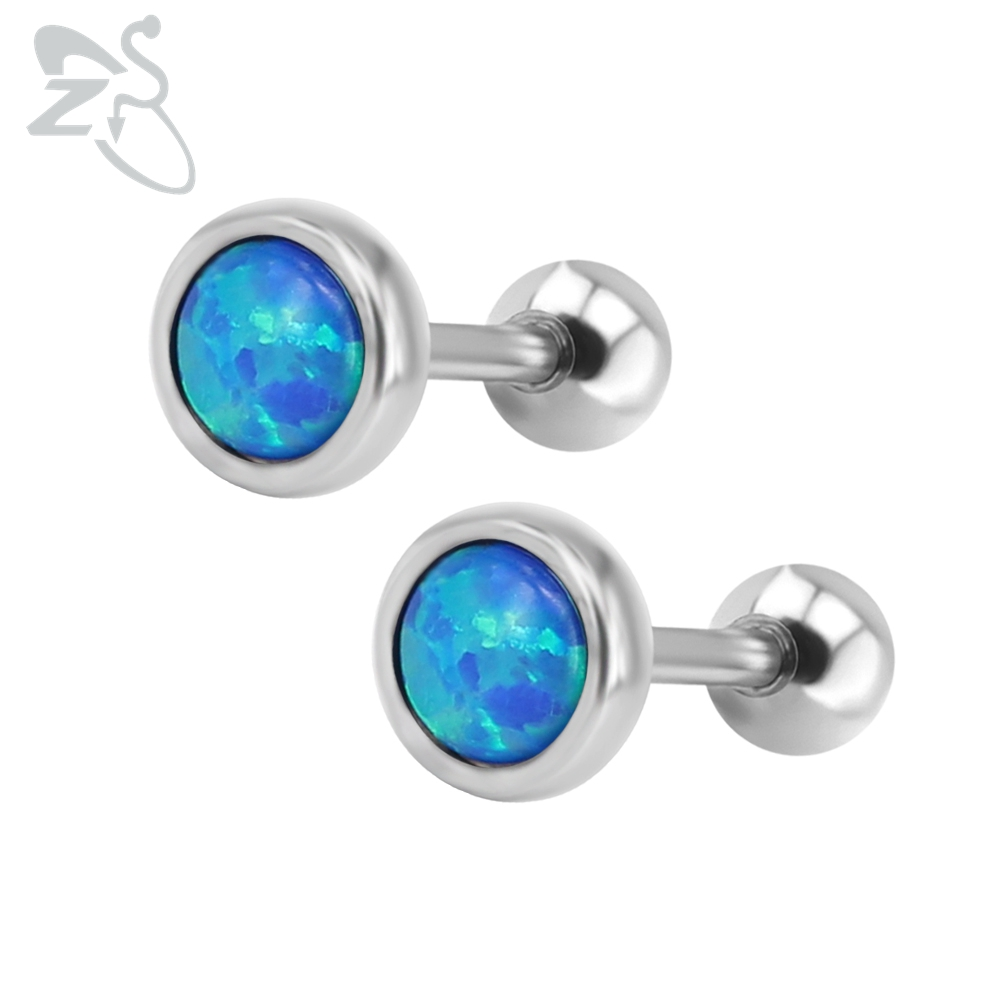Fashion Stud Earrings with Opal Stones Brinco 316 Surgical Steel Ear Studs Piercing Cartilage Opal Earring For Female Men Girls