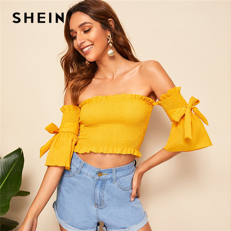 SHEIN Bow Tie Sleeve Ruffle Trim Shirred Off Shoulder Crop Top Blouse Women Slim Fit Solid Boho Summer Womens Tops And Blouses