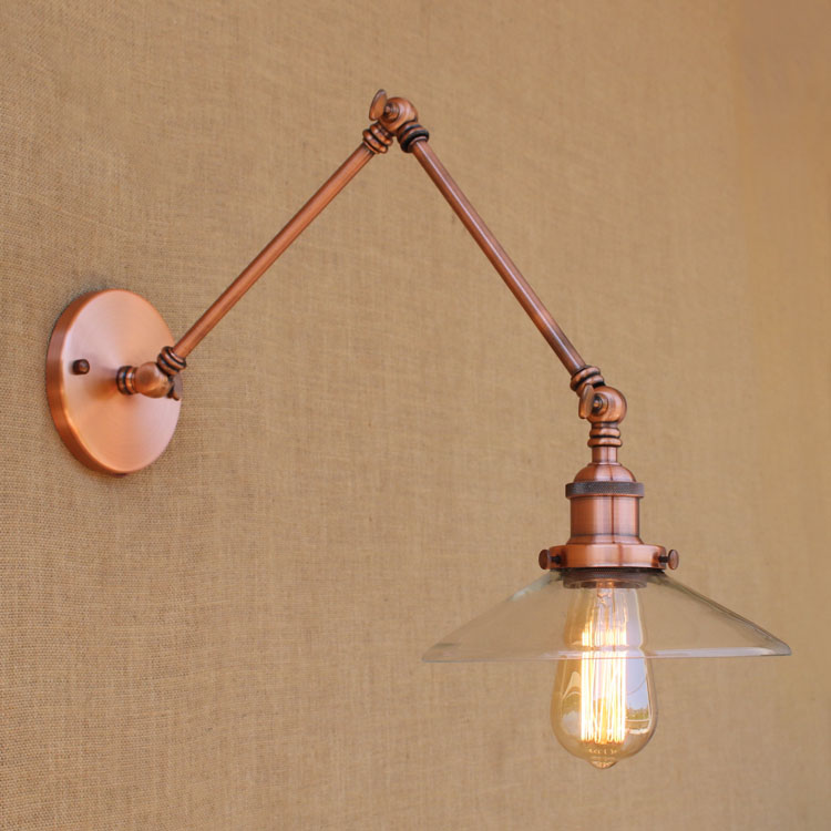 Wall Sconce Glass Retro Loft Industrial Lighting Vintage Wall Lamp With Swing Long Arm Light Lampada Parete WandlampenWall Sconce Glass Retro Loft Industrial Lighting Vintage Wall Lamp With Swing Long Arm Light Lampada Parete Wandlampen