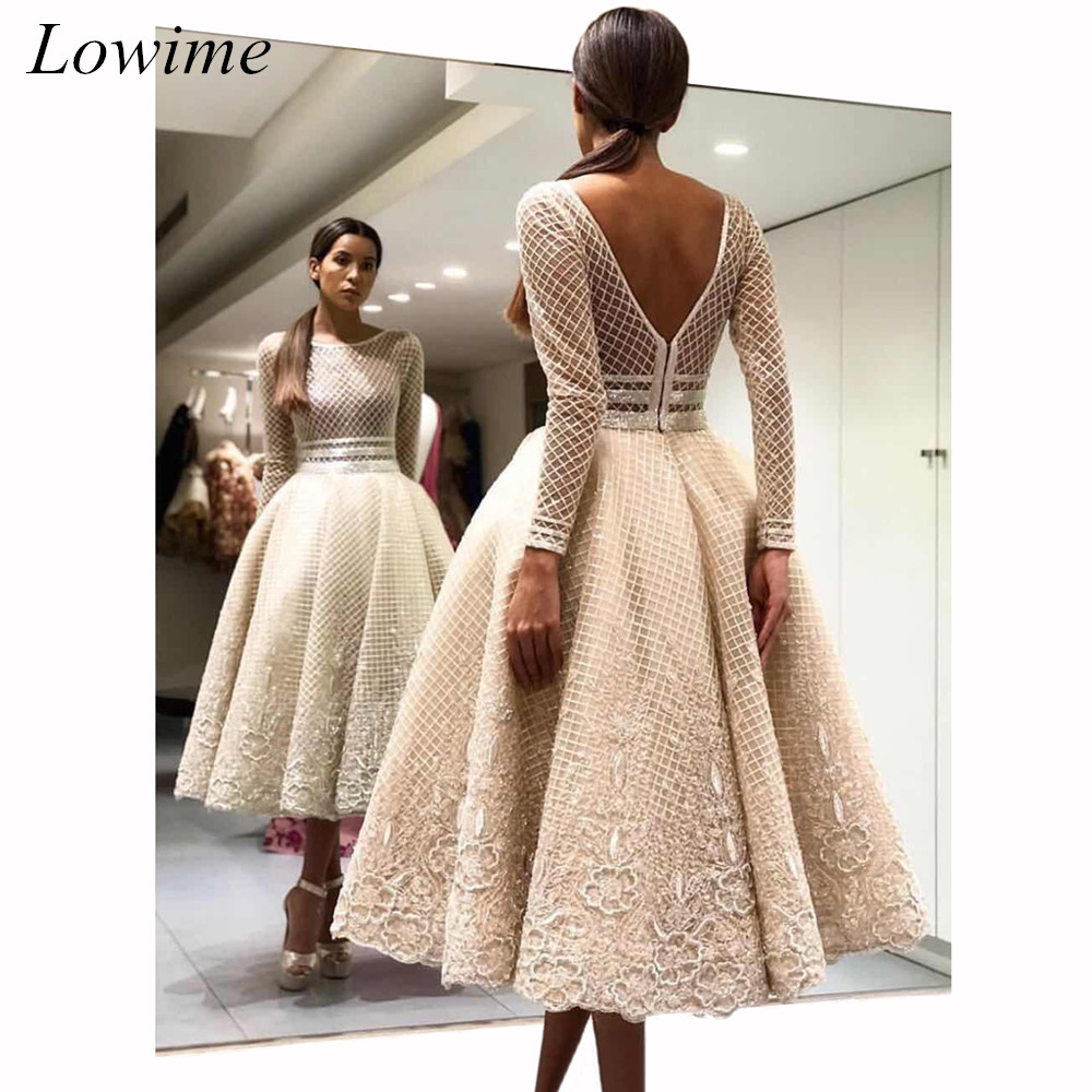 Special Design Dubai Cocktail Dresses 2019 Tea-Length Scoop V-Back Long Sleeve Evening Prom Party Gowns Free Shipping Custom