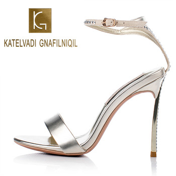 Fashion Party Sandals Women Gladiator 10CM High Thin Heels Rhinestone Light Gold PU Wedding Party Shoes Sandals Size 34-41 K-380