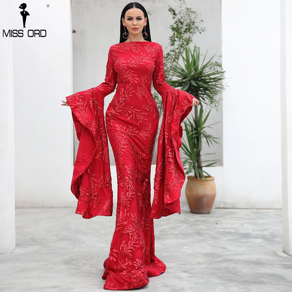 Missord 2019 пикантные для женщин осень O образным вырезом с расклешенными рукавами платье Твердые из блеск элегантное FT18462
