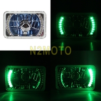 4x6 Universal H4 60/55W Car Headlights Rectangle Clear Glass Handlamp Green LED Signal Head Light Fit For Any Car Or Truck